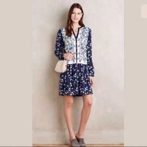 Anthropologie TINY Embroidered Blue Tunic Dress